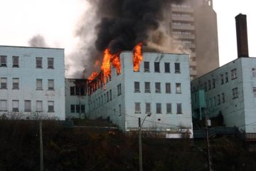 Business Building on fire